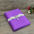 Personalized Custom Noble Purple Silk Wedding Invitation Boxes with Embellishment