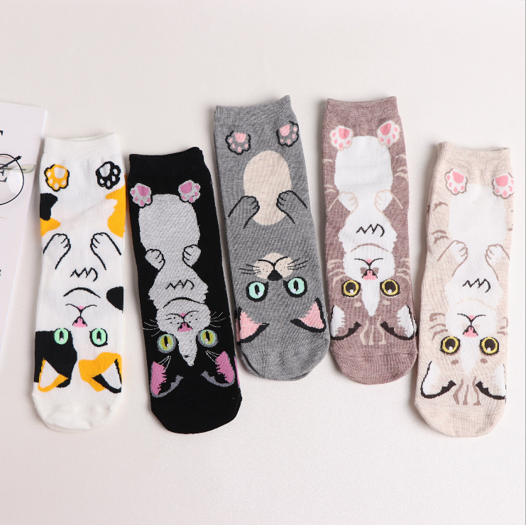 Fashion Cotton Animal Cat Liner Invisible Socks