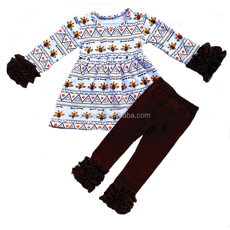 halloween children casual clothing set bee pattern tops brown girls ruffle suits