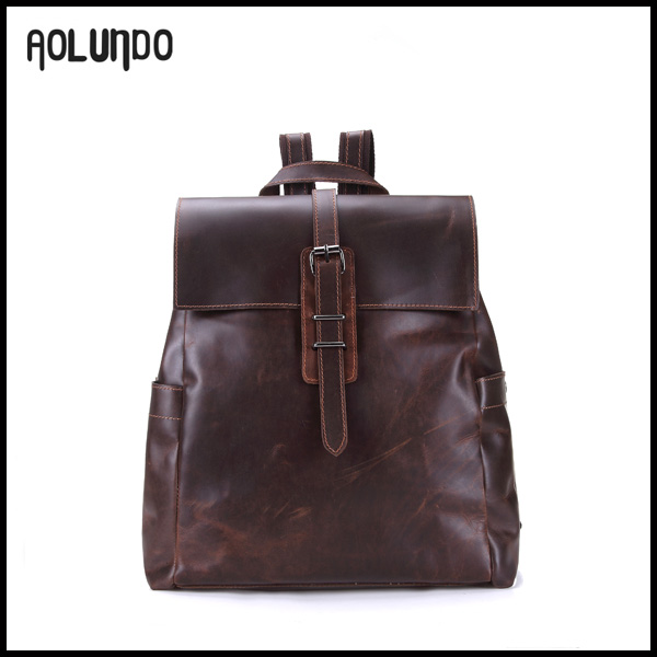 Popular selling customized stock wholesale leather brown backpack 2016
