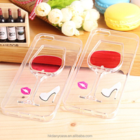 Best New arrival 3d Liquid Red Wine Glass Phone Case for iPhone 6 for 6 plus,Liquid case for iphone 6 plus