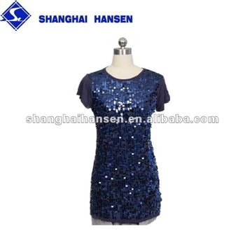 Knitted ladies top with sequins