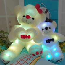 Hot new very beautiful LED lighting teddy bear plush toy good design white lighting plush bear with love heart doll