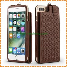 New Design Weave Pattern Leather Flip Lanyard Card Slots phone case for Iphone7 plus