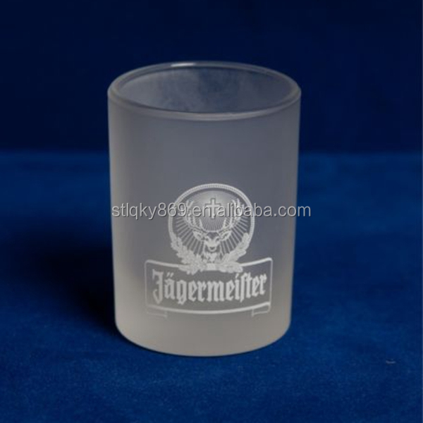 China glassware factory supply frosted glass candle holder white color chemical frosted mercury glass candle holder