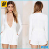 Stylish Lady Sexy Low Cut Wrap Fitted deep v neck white dress for women