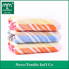 Antibacterial bamboo striped terry towelling fabric face washer & hand towels