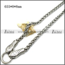 Cool Design Silver Engraved Biting Double Lifelike Snake Thick Curb Chain Necklace