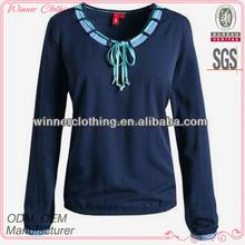 Ladies high fashion long sleeve 100% cotton t shirt design
