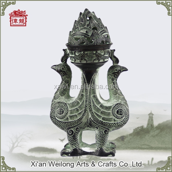 Reproductions of antique chinese bird shaped bronze incense burners HQY805