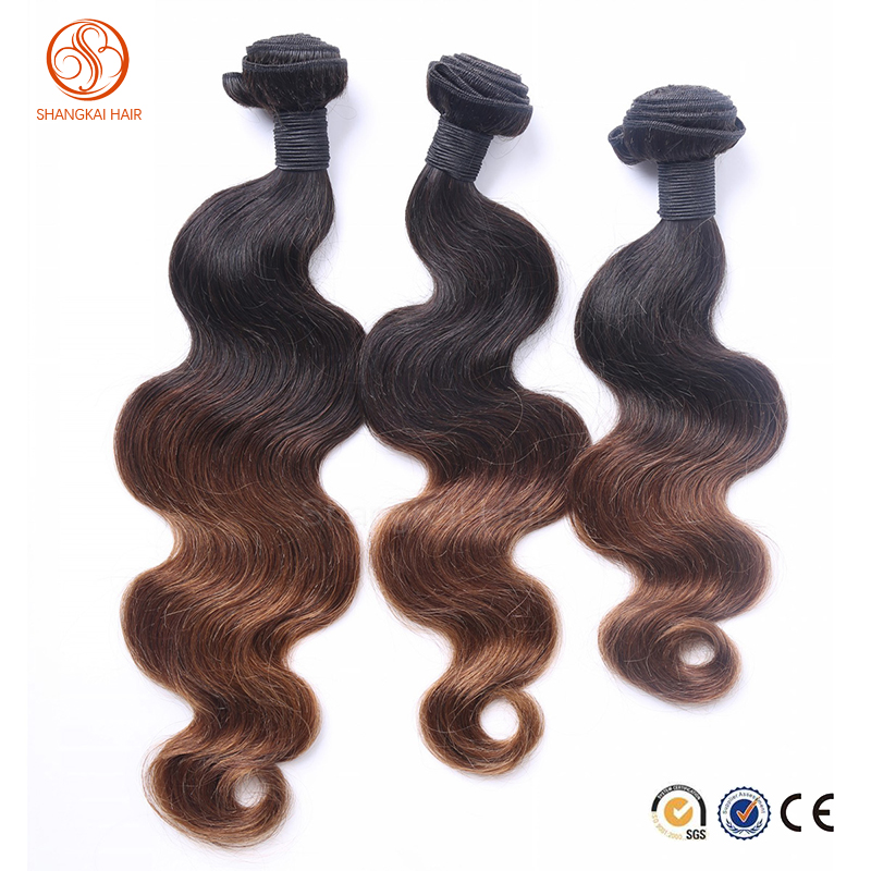 "24"" Wavy Hair Weaving Two Tone Color Human Hair Weft"