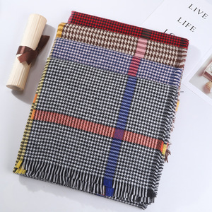 New arrival 100% acrylic houndstooth pashmina scarf shawl with colorized striped