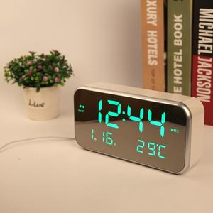 High-Quality Pretty Fashionable Mirror Surface LED Digital Musical Alarm Clock with Temperature Display for Home Decor and Kids