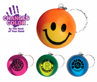 Mood smiley face stress key chain. Changes colour with the heat of your hand.