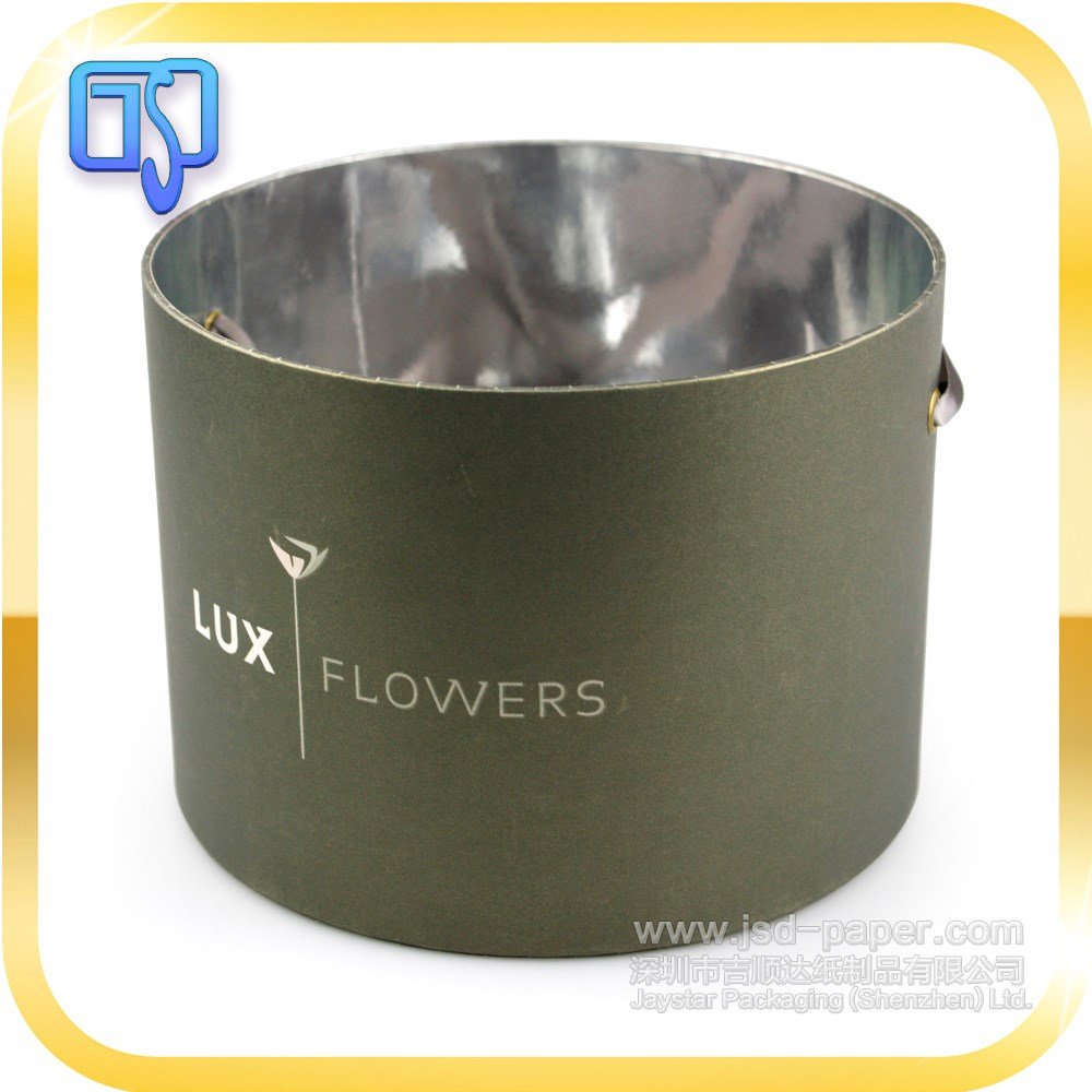 New style custom logo round flower box with silver paper for hat packaging