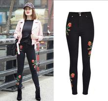 K3156A Europe High Waisted Embroidery Denim Skinny Women Jeans Fancy Stretch Skinny Tight Jeans Pants Ladies