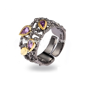 Handmade Antique Natural Stone 925 Sterling Silver Jewelry Ring for Women