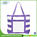 purple and white striped beach totes