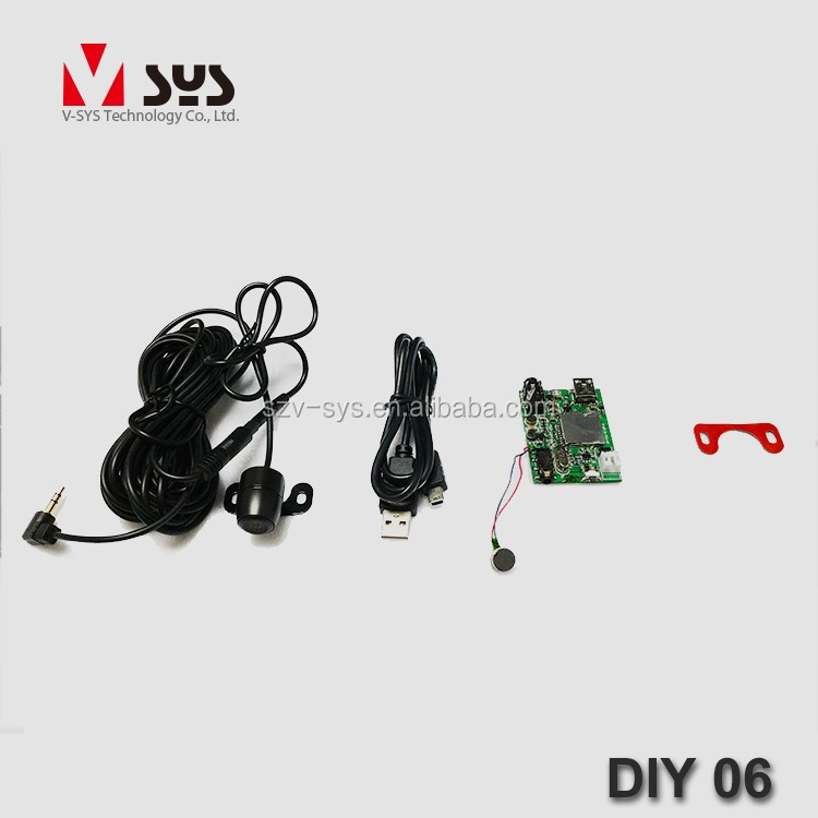 Vsys Official DIY06 mini remote control cctv board hidden camera DVR PCB module with 15 meters wired waterproof lens