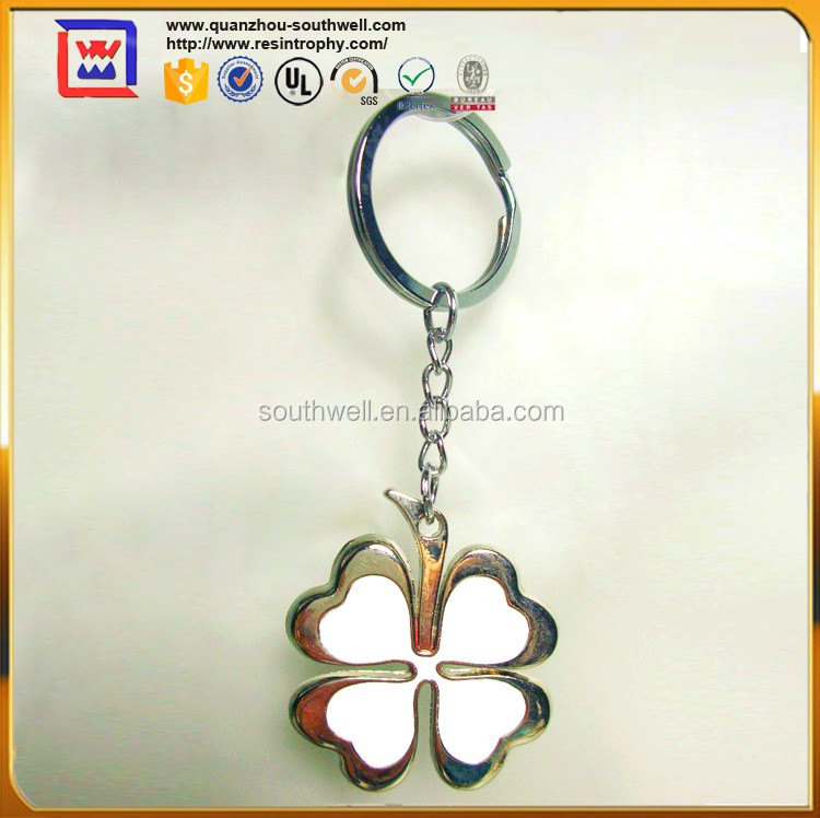 Gold Four Leaf Clover Key Ring For Sale