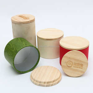 Custom hard paper tube package with wooden lid