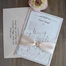 lace pocket Blush and Silver Glitter Wedding Invitation card