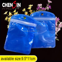9*11cm clear blue zip lock hang hole plastic bags packaging pouches round jewelry pouch reclosable zip bags with transpar-block