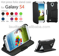 Laudtec Hot Selling Hot Press Stand Folio Leather Case for Samsung Galaxy S4 i9500