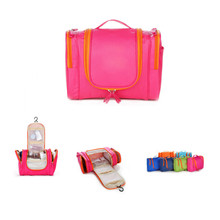 Hanging foldable lady cosmetics travel toiletry bag, multi function women beauty makeup vanity toiletry bag pouch organizer