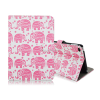 2015 Newest Hot Selling Colorized Lovely Animals Pattern Side Flip Stand PU Leather Case for iPad Mini 4