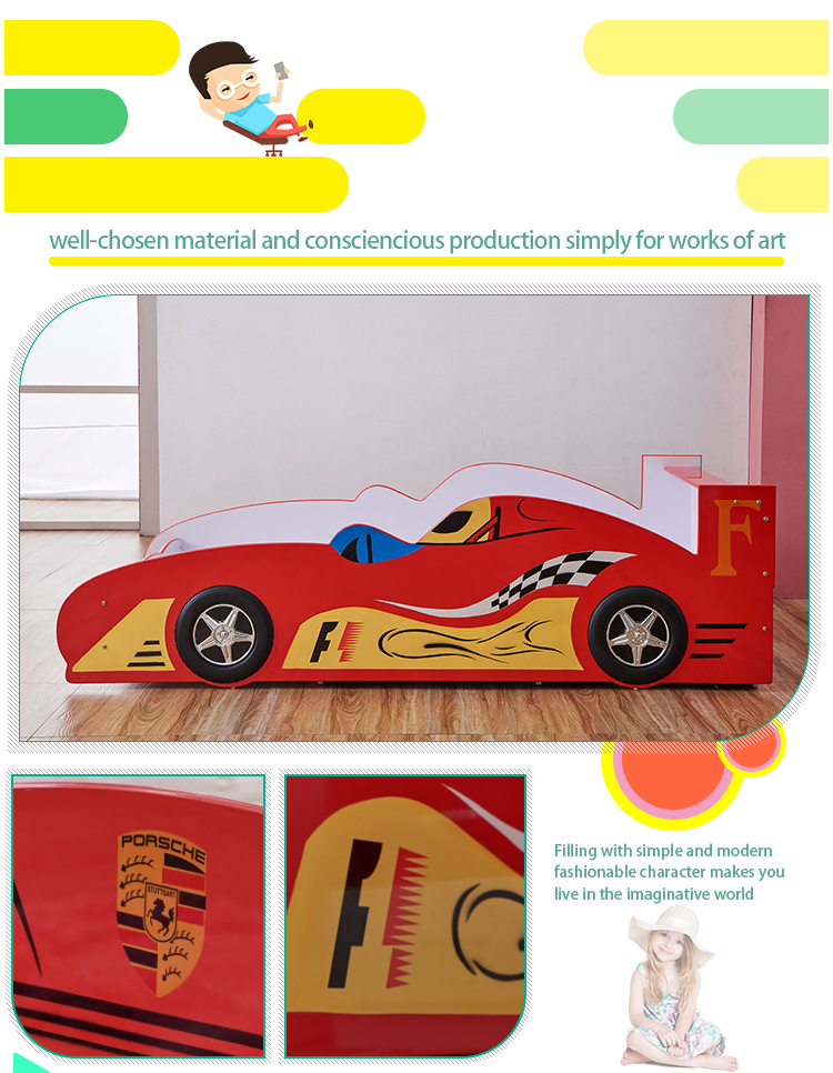 Cheap wooden full adult sized race car bed , kids style car children beds for kids