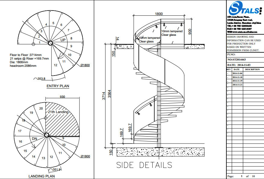 Stals modern steel glass stair railing spiral staircase for Spiral stair cad