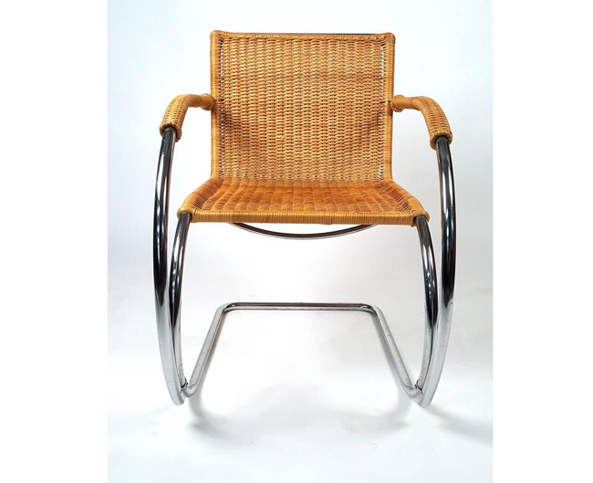 Mr Lounge Chair by Ludwig Mies van der Rohe in rattan