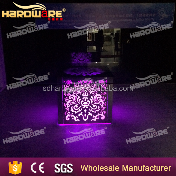 Hot sale modern illuminated light up glass wedding table with LED