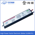 High Power Factor Electronic Ballast 2x36W PLL