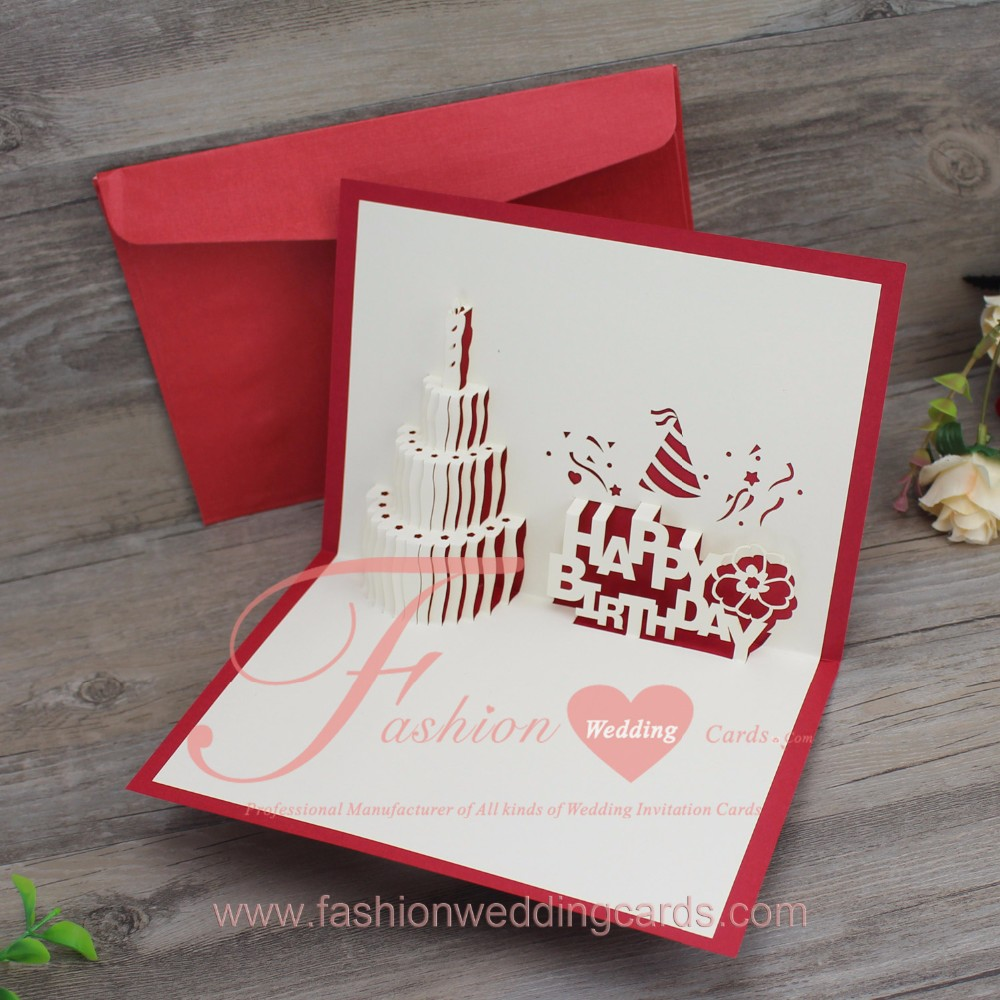 3d Pop Up Laser Cut Wedding Invitations Congraduation Birthday Cake ...