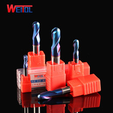 Weitol carbide 2 flutes ball nose end mill round nose end mill carving tools in milling cutter China ball nose HRC65