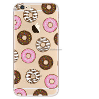 Clear Transparent doughnut cute design custom tpu silicone case for iPhone 5 5S SE