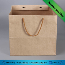 Manufacturers cheap square bottom brown kraft paper bags with rope handle