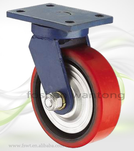 Low Profile Heavy Duty Iron Core PU Polyurethane Caster Wheel