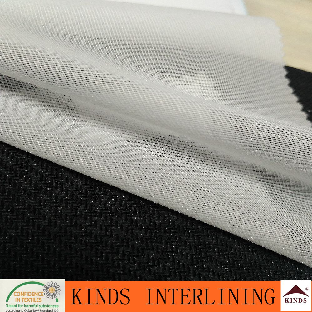 Tricot knitted fusible interlining/ woven interfacing/ Woven Fusible Interlining fabric