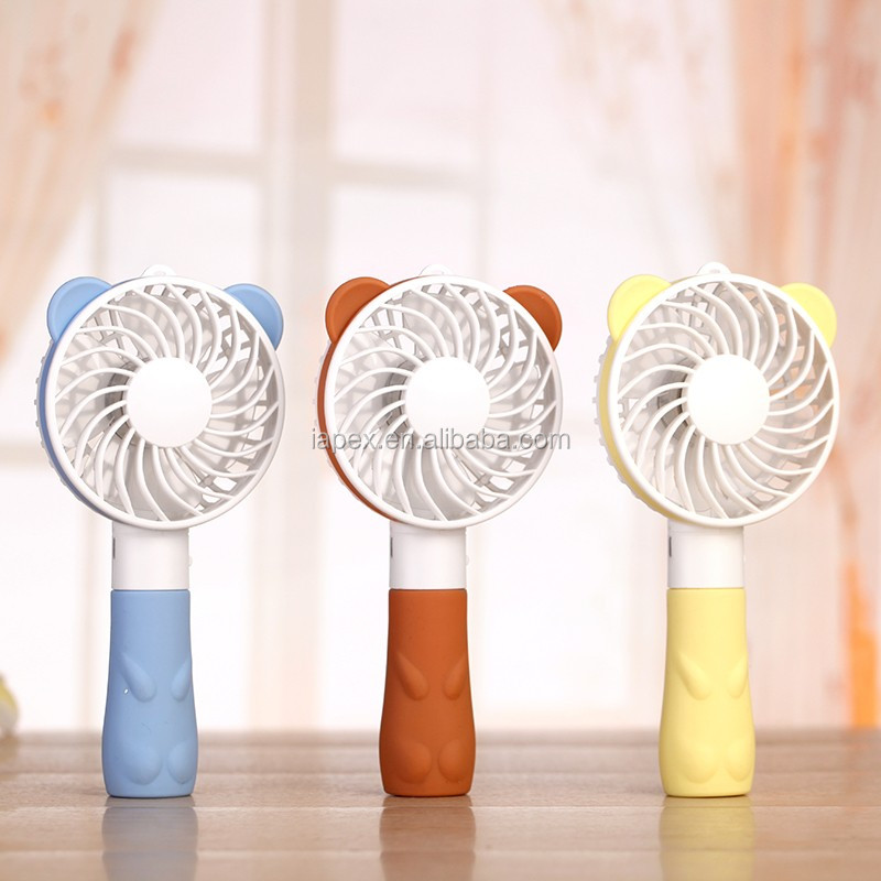 Cartoon bear portable usb mini desk handheld fan with rechargeable battery