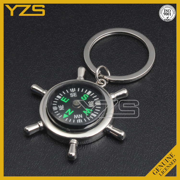 custom metal gps tracker compass decorative key chain