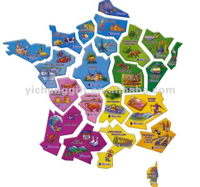 Educational Toys Kid's Gift France Map Paper Jigsaw Puzzle