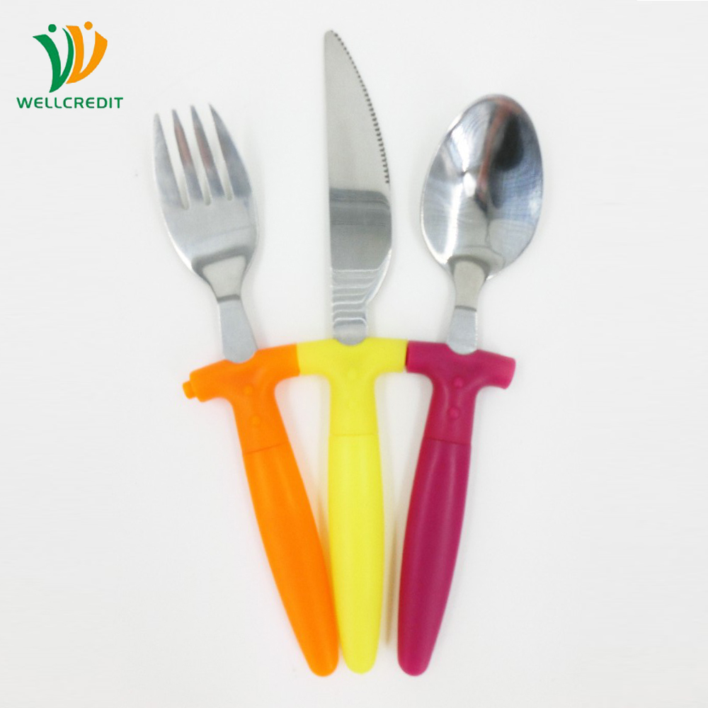 Lovely Kids Flatware Set Stainless Steel Kids Cutlery with Plastic Handle