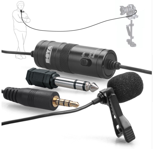 "BOYA BY-M1 3.5mm Electret Lavalier Clip Condenser Microphone Come with 1/4"" adapter for Smartphones, DSLR, Audio recorders, PC"