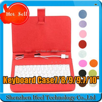 "7"" inch Keyboard Case ,Leather Case with USB Keyboard Stylus for Apad Ebook mid Tablet PC Android"
