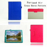 Leather Cover Case for ipad 5 for ipad Air,Crazy Horse pattern with stand leather Case for ipad Air Made in China