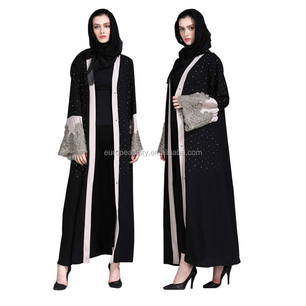 2018 Latest Design Islamic Muslim dress for women arabic dubai abaya fashion beading embroidery front open abaya kaftan dress