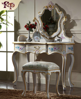 antique hand painted bedroom set dresser table with mirror and chair